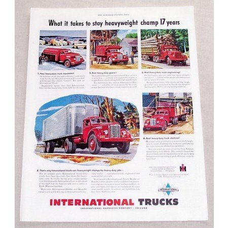 1949 International Trucks Color Print Ad - Heavyweight Champ