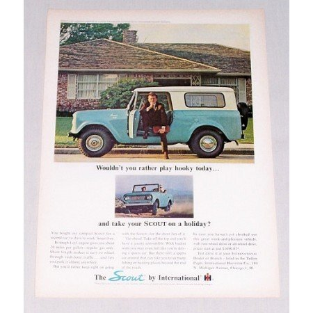 1964 International Scout Color Print Ad - Play Hooky Today