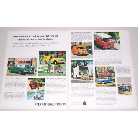 1962 International Delivery Trucks 2 Page Color Print Ad