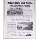 1954 4 Wheel Drive Willys Jeep Vintage Print Ad - Work On Schedule