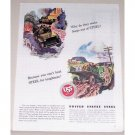 1944 USS Steel Color Wartime Art Ad JEEPS OUT OF STEEL