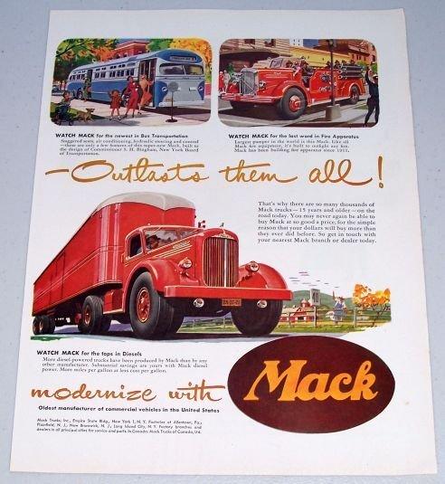 1949 Mack Trucks Delivery Fire Truck Bus Bulldog Art 2 Page Color Print Ad