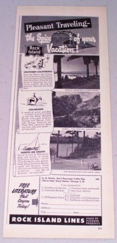 1949 Rock Island Lines Railroad Train Transportation Vintage Print Ad