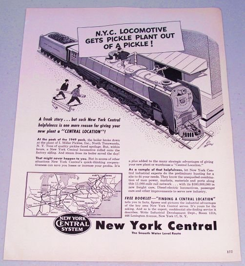 1949 New York Central System Railroad Train Vic Herman Art Vintage Print Ad