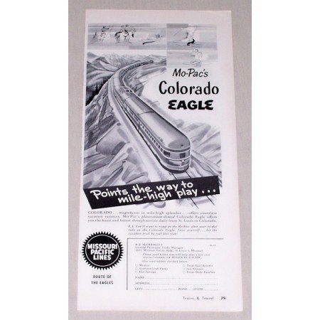 1953 Missouri Pacific Lines Colorado Eagle Train Vintage Print Ad