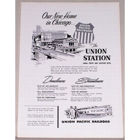 1955 Union Pacific Railroad Chicago Union Station Vintage Print Ad