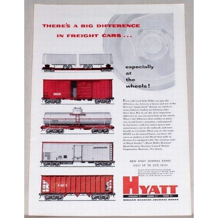 1954 Hyatt Roller Bearing Freight Car Train Color Print Ad
