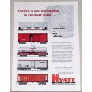 1954 Hyatt Roller Bearing Freight Car Train Color Print Ad