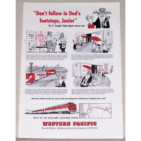 1954 Western Pacific California Zephyr Train Color Print Art Ad