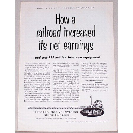 1953 General Motors Locomotives Vintage Print Ad - Net Earnings