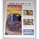 1946 American Locomotive Railroad Color Print Art Ad - Years Ahead