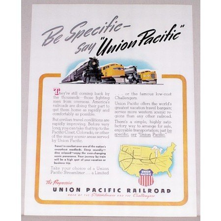 1946 Union Pacific Railroad Streamliner Challengers Color Print Ad