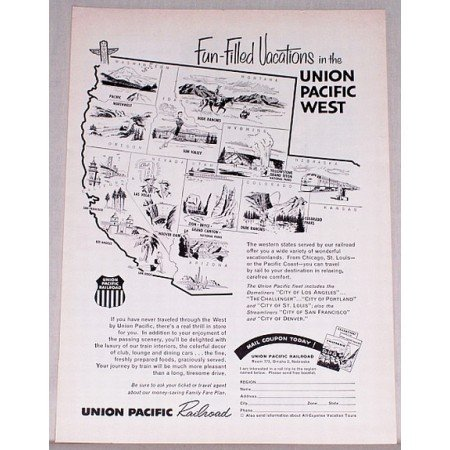 1957 Union Pacific Railroad Vintage Print Ad - Fun Filled Vacation