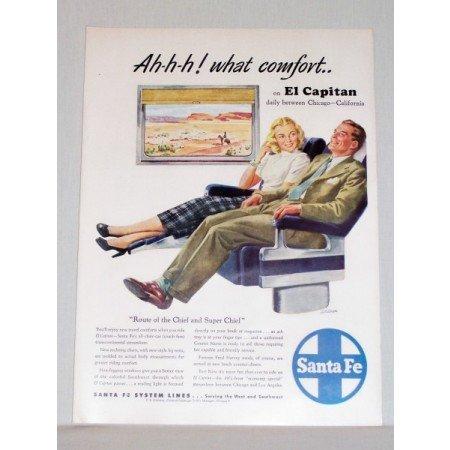 1948 Santa Fe El Capitan Railroad Shilo Art Color Print Ad