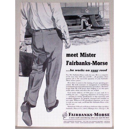 1953 Fairbanks Morse Railroad Color Print Ad - Meet Mister