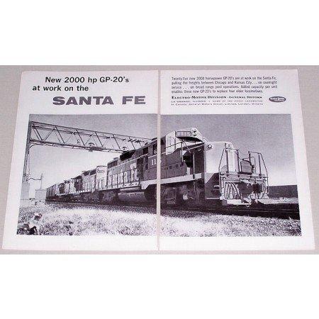 1961 GM Locomotives Santa Fe GP-20's 2 Page Vintage Print Ad