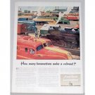 1945 American Locomotive Color Print Art Ad - How Many Locomotives