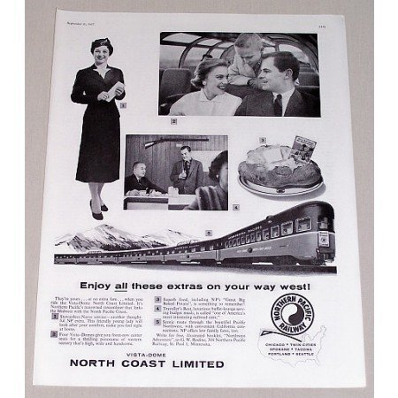 1957 Northern Pacific Railway Vintage Print Ad - Enjoy All The Extras
