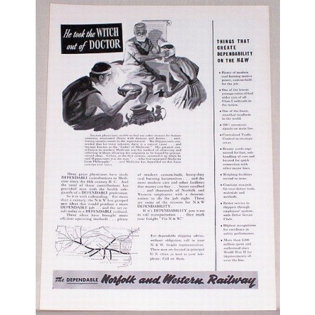 1954 Norfolk Western Railway Railroad Vintage Print Ad - Witch Doctor