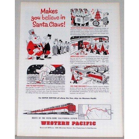 1954 Western Pacific Vista Dome Zephyr Train Color Print Ad