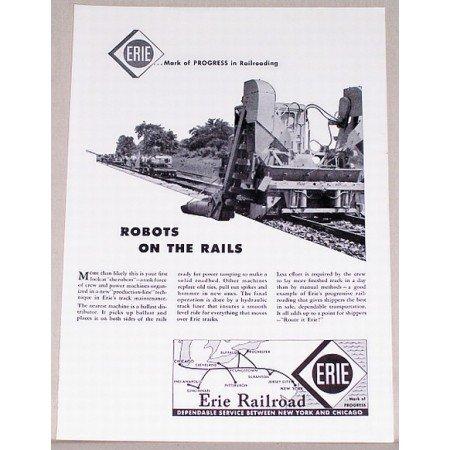 1955 Erie Railroad Vintage Print Ad - Robots On The Rails