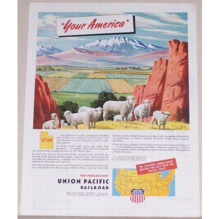 1945 Union Pacific Railroad Sheep Animal Color Print Scenic Art Ad - Your America