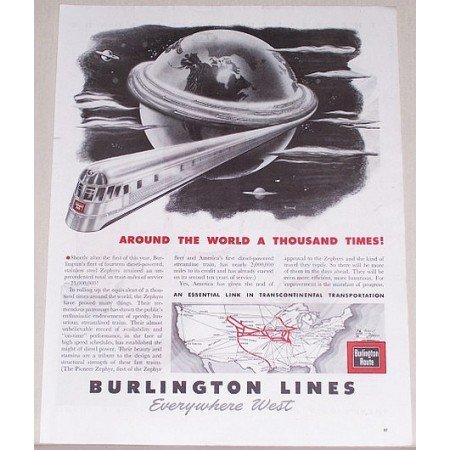 1945 Burlington Lines Railroad Vintage Print Ad - Around The World