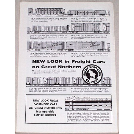 1958 Great Northern Railway Vintage Print Ad - New Look Freight Cars