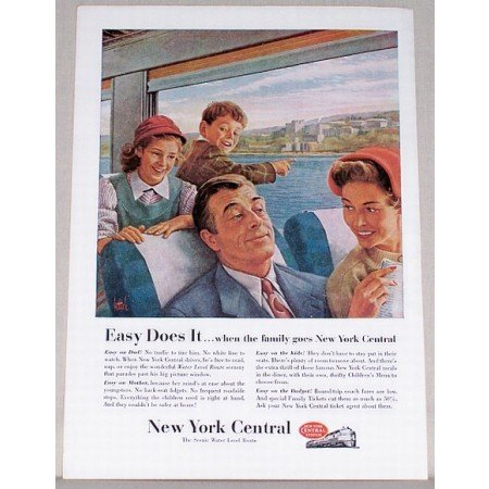 1954 New York Central System Color Print Ad - Easy Does It