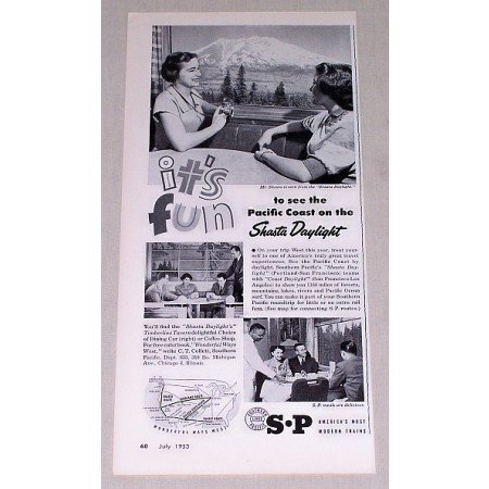 1953 Southern Pacific Lines Vintage Print Ad - Shasta Daylight
