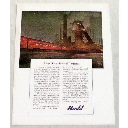 1949 The Budd Co. Pennsylvania Train Ragan Art Color Print Ad