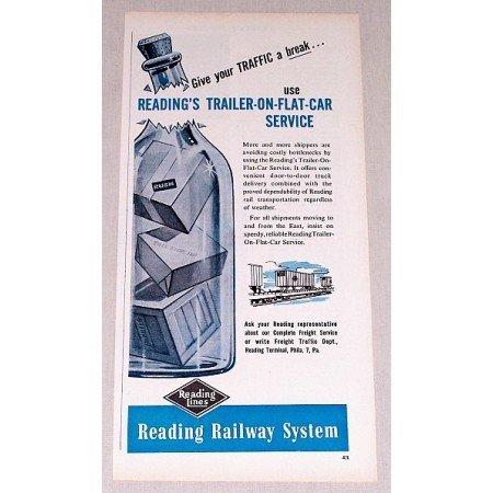 1957 Reading Lines Railway System Vintage Print Ad