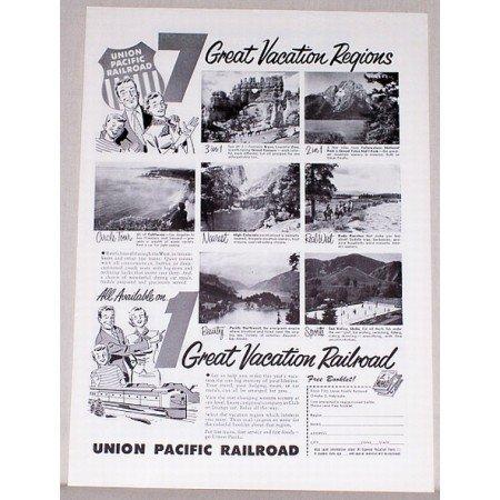 1954 Union Pacific Railroad Vintage Print Ad - Great Vacation Railroad