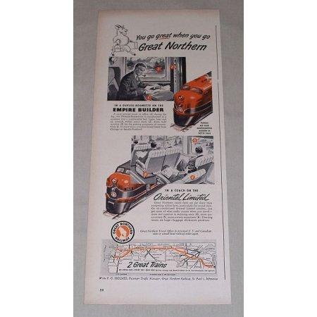 1949 Great Northern Railway Railroad Color Print Ad