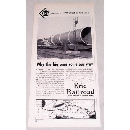 1954 Erie Railroad Vintage Print Ad - Why The Big Ones Come Our Way