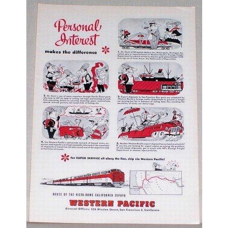 1953 Western Pacific Railroad Train Color Print Art Ad