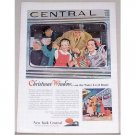 1953 New York Central System Color Print Art Ad - Christmas Window