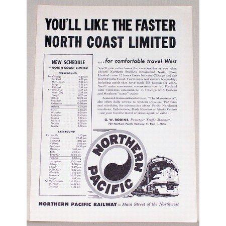 1953 Northern Pacific Railway Train Vintage Print Ad - North Coast