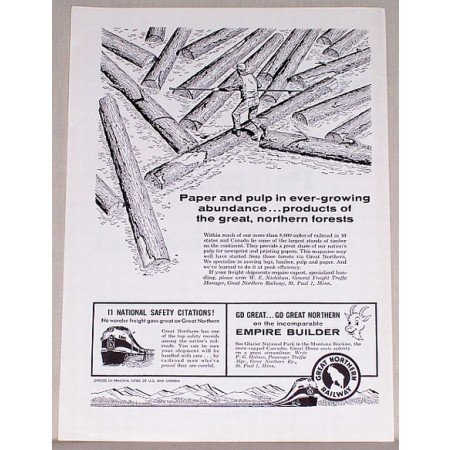 1958 Great Northern Railway Vintage Print Ad - Paper and Pulp