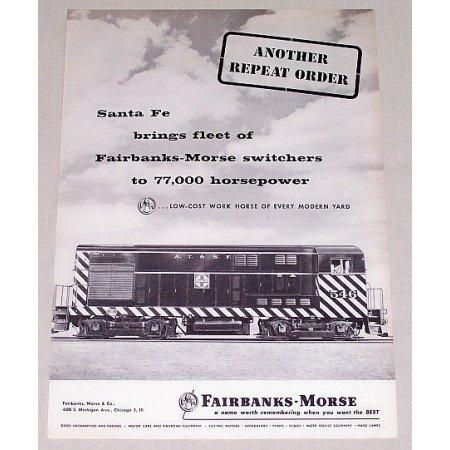 1957 Santa Fe Fairbanks Morse 546 Switchers Railroad Vintage Print Ad