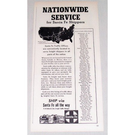 1954 Santa Fe Railroad Vintage Print Ad - Nationwide Service