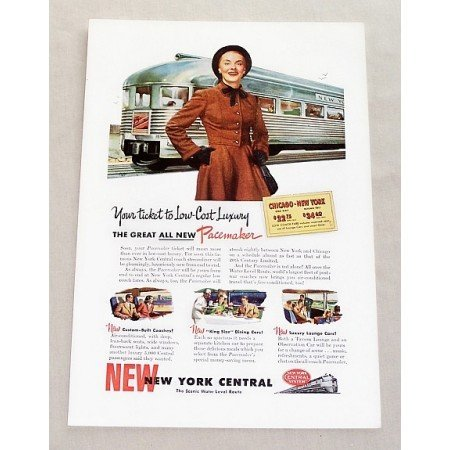 1947 New York Central Pacemaker Streamliner Train Color Print Ad