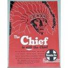 1954 Santa Fe Railroad Color Print Ad - The Chief