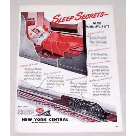 1946 New York Central Railroad Color Print Ad - Sleep Secrets