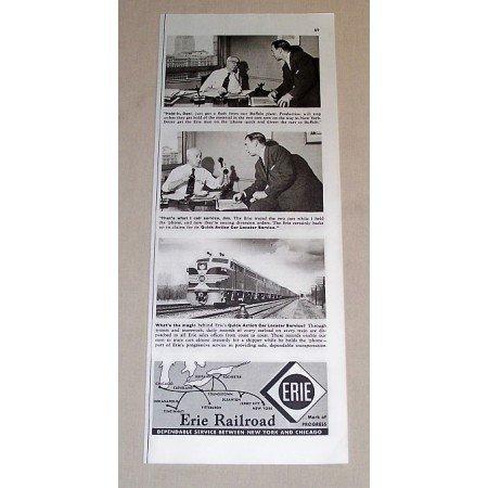 1954 Erie Railroad Vintage Print Ad - Hold It, Dan!