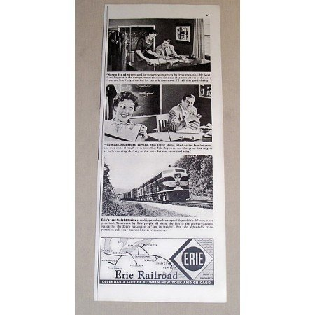 1954 Erie Railroad Vintage Print Ad - Here's The Ad