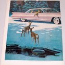 1961 Cadillac Sedan De Ville Automobile Winter Scene Deer Art 2 Page Color Print Car Ad
