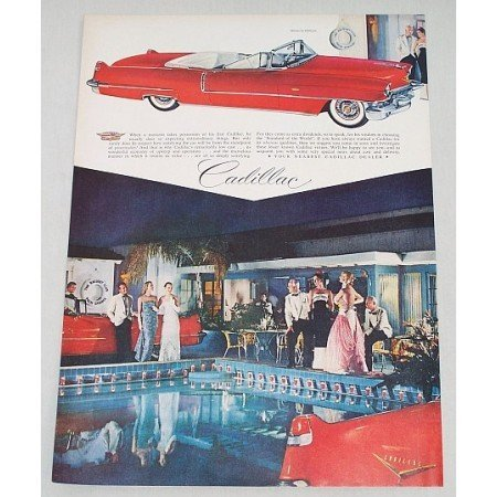 1956 Cadillac 2DR Convertible Automobile Color Print Car Ad
