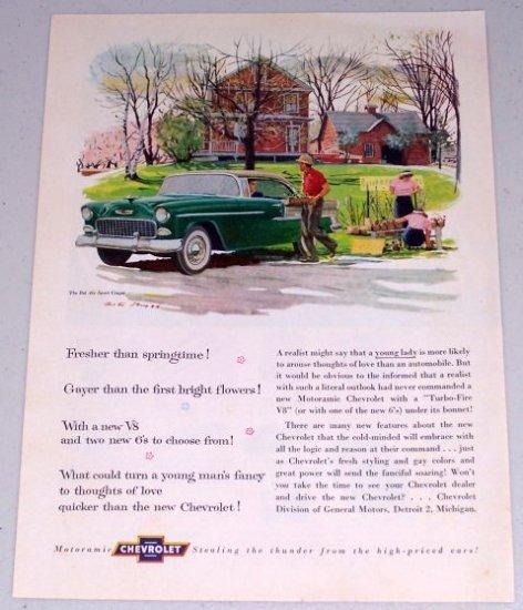 1955 Chevrolet Bel Air Sport Coupe Automobile Color Print Car Art Ad