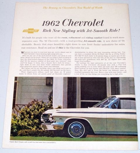 1961 Color Print 2 Page Car Ad for 1962 Chevrolet Impala Sport Coupe Automobile